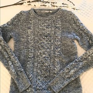 GAP Blue Marled Cable Knit Sweater size M Tall